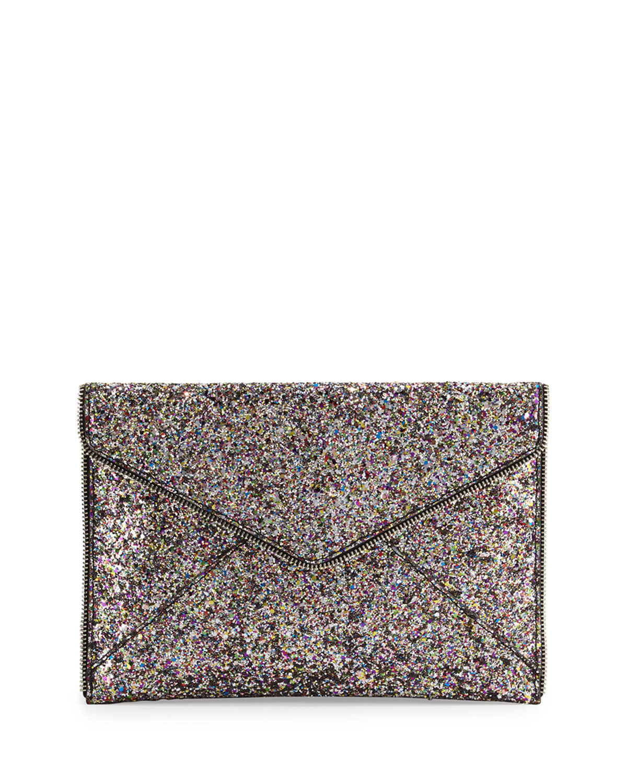bdf9cecc9 Rebecca Minkoff Leo Glitter Envelope Clutch Bag, Silver/Multi ...
