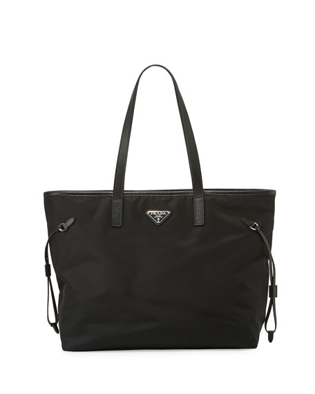446c8e759c91 Prada Vela Side-Cinch Shopping Tote Bag, Black (Nero) | Neiman Marcus