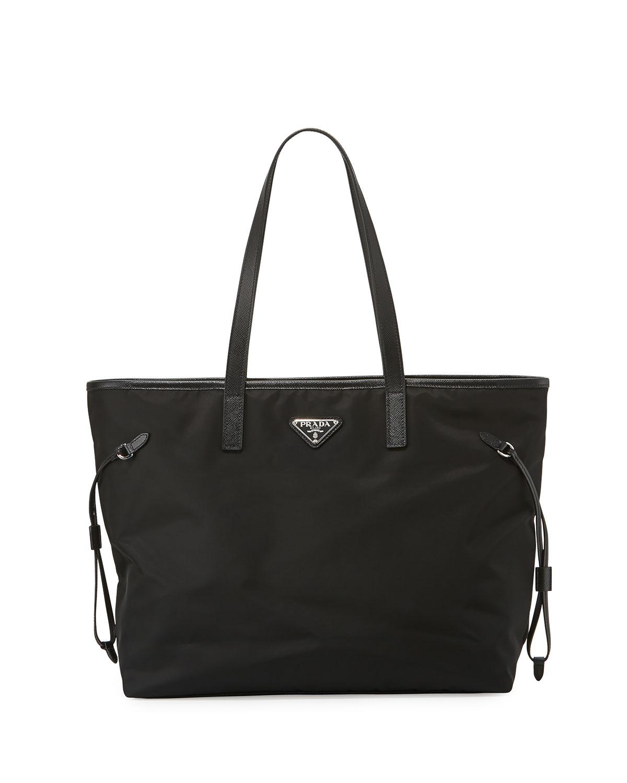 446c8e759c91 Prada Vela Side-Cinch Shopping Tote Bag, Black (Nero) | Neiman Marcus