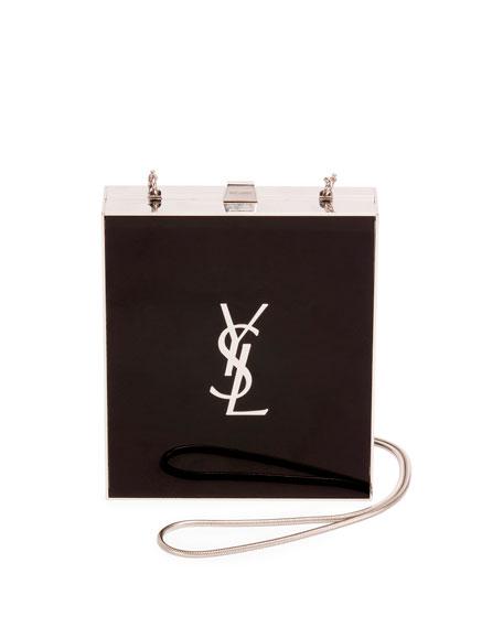 Saint Laurent Tuxedo Box Minaudiere, Black/Silver