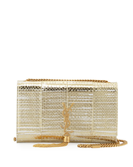 Kate Monogram Medium Snakeskin Tassel Shoulder Bag, Gold