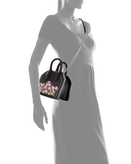 Falabella Embellished Mini Bowler Bag, Black