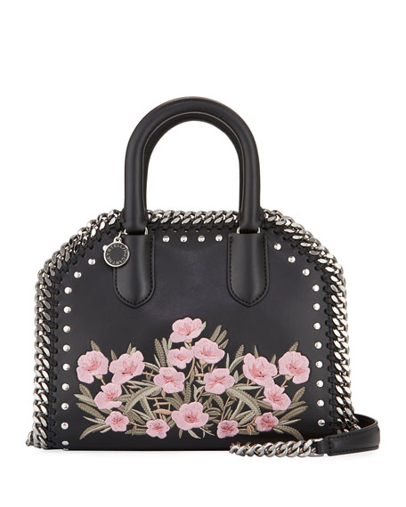 Stella McCartney Falabella Embellished Mini Bowler Bag, Black