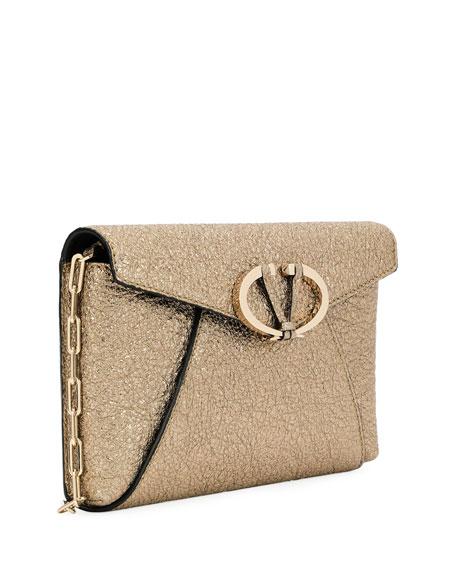 V Rivet Metallic Leather Chain Clutch Bag, Gray