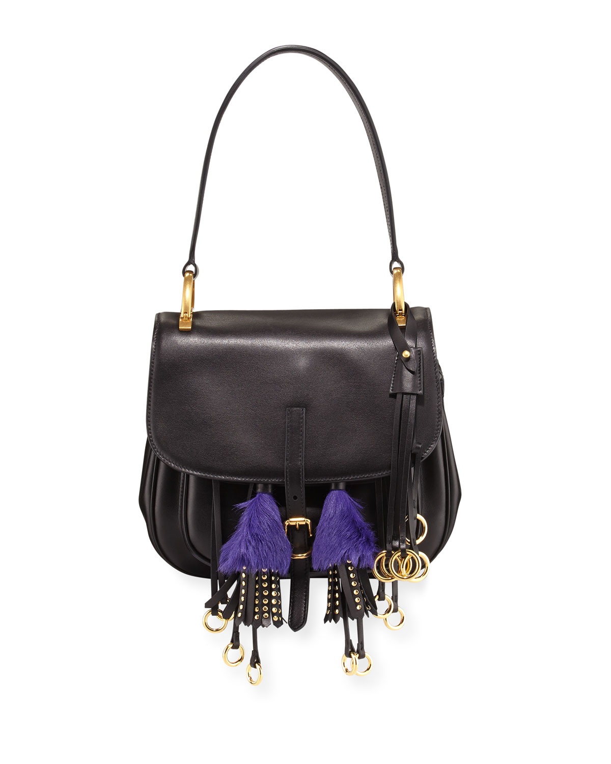 6e4582388149 Prada Corsaire Calf Leather Fringe Shoulder Bag | Neiman Marcus