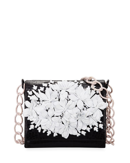 Floral Crocodile Crossbody Bag