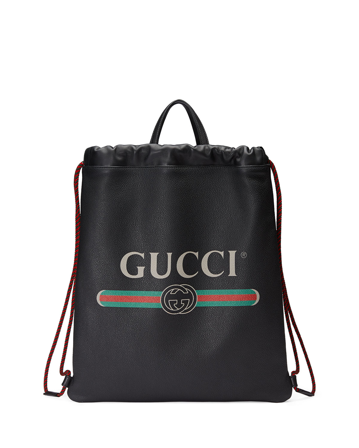 23aca5be5f Gucci-Print Leather Drawstring Backpack