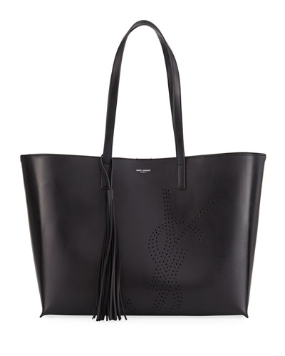 Large East-West Perforated Leather Shopping Tote Bag