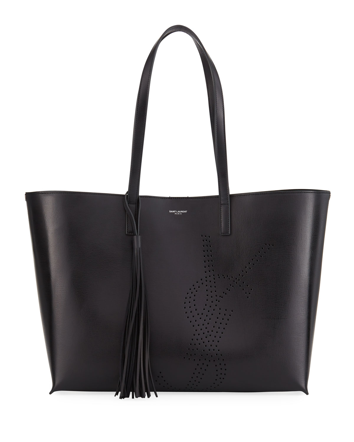 0608bc007738b Saint LaurentLarge East-West Perforated Leather Shopping Tote Bag