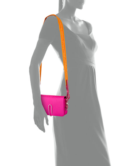 Off-White Mini Moire Fabric Crossbody Bag with Binder Clip