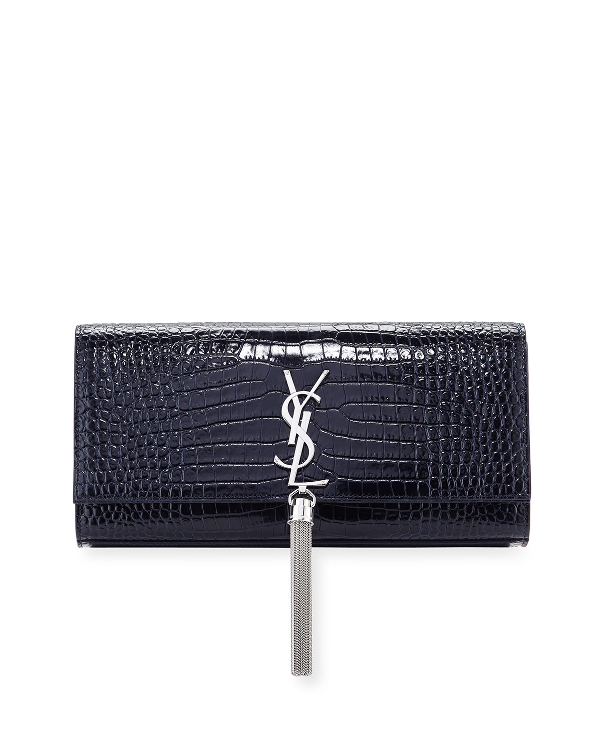 688f4c1bae0 Saint Laurent Kate Monogram YSL Tassel Faux-Crocodile Clutch Bag ...