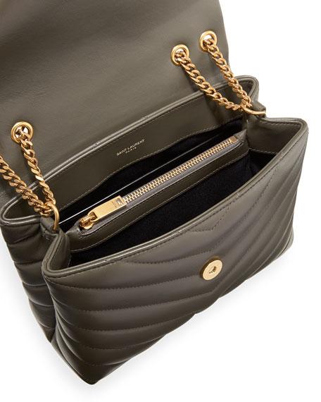 Loulou Monogram YSL Small V-Flap Chain Shoulder Bag - Lt. Bronze Hardware