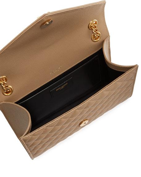 Saint Laurent V Flap Monogram YSL Medium Envelope Chain Shoulder Bag - Golden Hardware