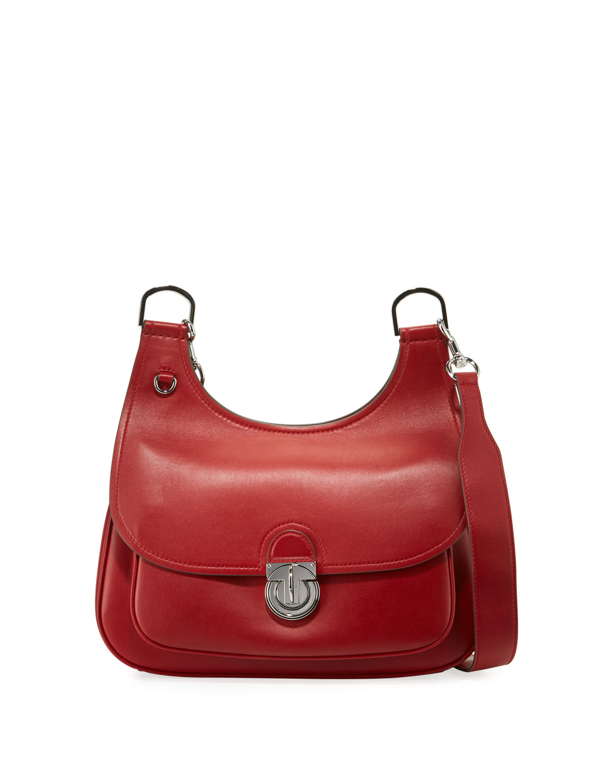 97ac3f81a5551a Tory Burch James Smooth Leather Saddle Shoulder Bag | Neiman Marcus