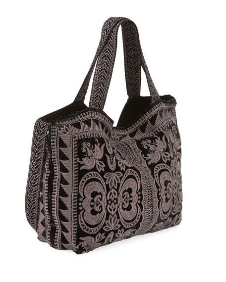 Johnny Was Hirsch Embroidered Velvet Tote Bag