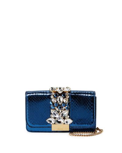 Cliky Mini Jeweled Snakeskin Clutch Bag