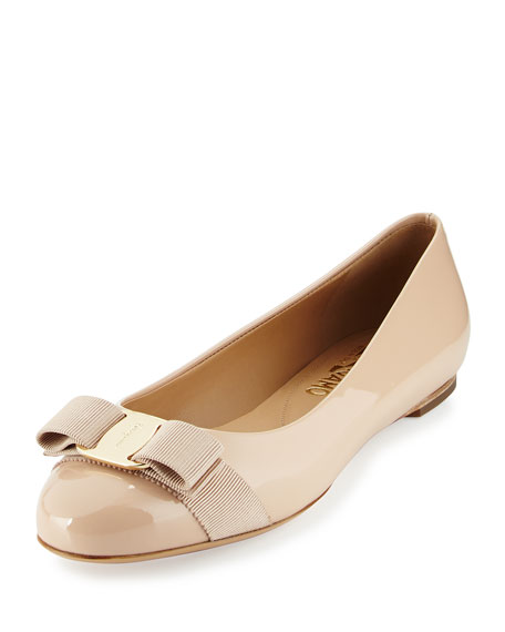 Salvatore Ferragamo Patent Leather Bow Flat, New Bisque