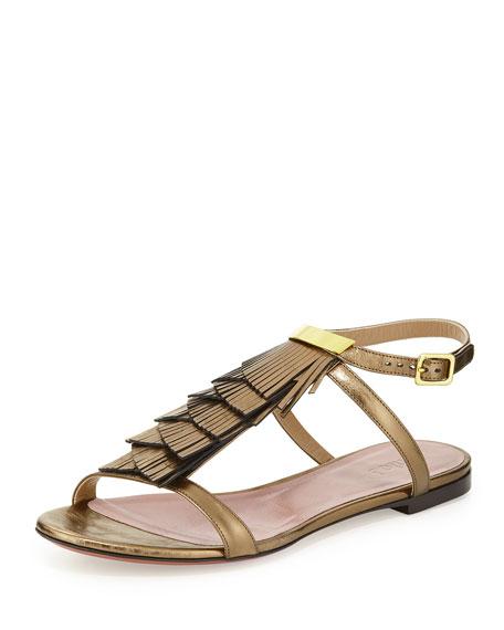 Fringe Ankle-Wrap Flat Sandal, Golden Bronze