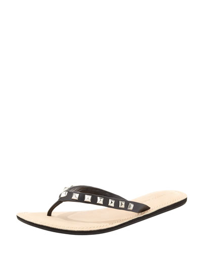 Fiona Studded Leather Flip-Flop, Black