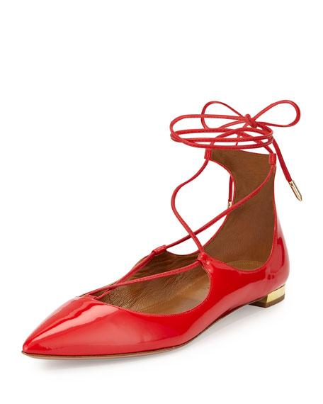 Aquazzura Christy Lace-Up Pointed-Toe Flat, Lipstick