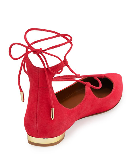 Christy Lace-Up Pointed-Toe Flat, Sorbet