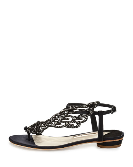 Seraphina Angel-Wing Flat Sandal, Black Crystal
