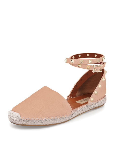 Valentino Rockstud Leather Ankle-Wrap Espadrille, Skin Sorbet