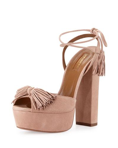 Wild One Tassel 140mm Sandal, Vintage Pink