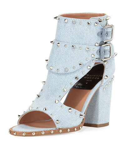 Deric Studded Denim Sandal, Light Blue/Silver