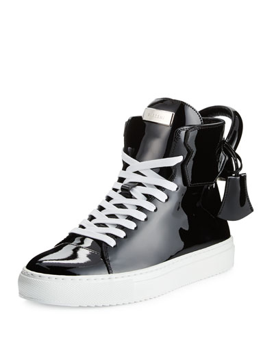 Women's Patent Leather High-Top Sneaker, Black
