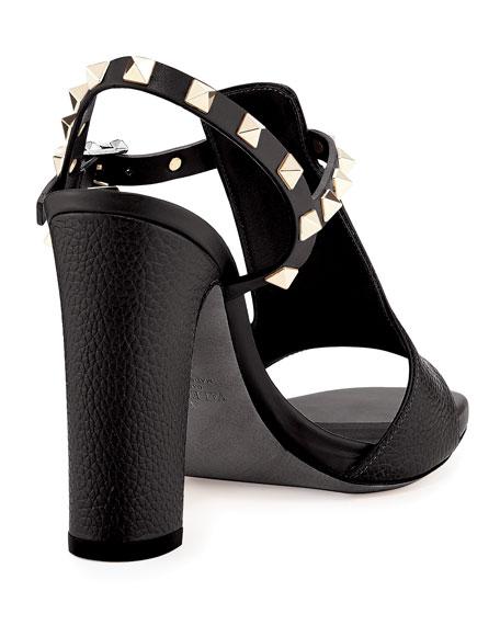Rockstud T-Strap 105mm Sandal, Nero