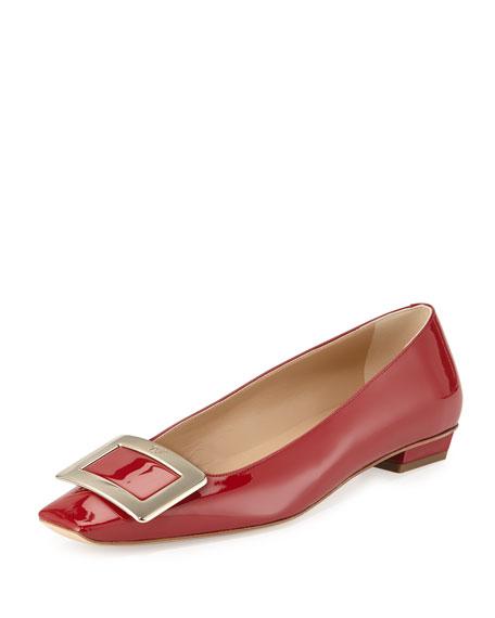 Roger Vivier Belle Vivier Patent Ballerina Flat, Red