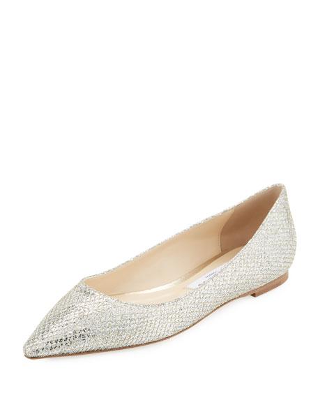 Romy Glitter-Fabric Ballerina Flat