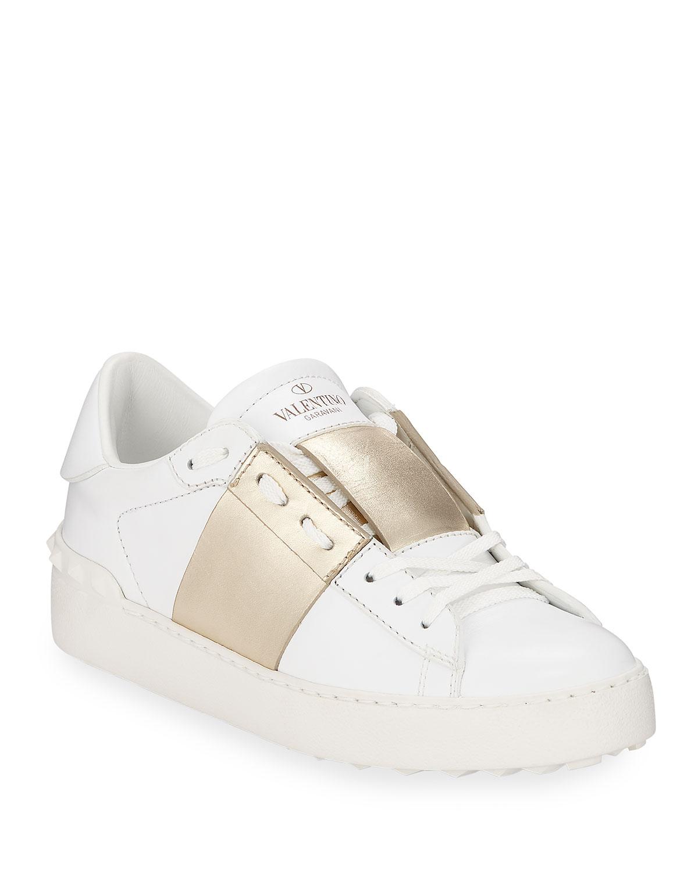 284f955e8b4d3 Valentino Garavani Open Metallic-Band Sneakers