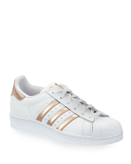 Adidas Superstar Original Fashion Sneaker, White/Rose Gold