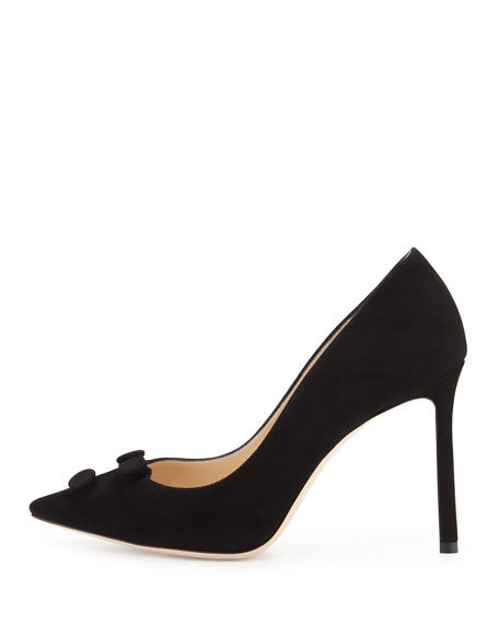 Jasmine Suede Button 100mm Pump, Black