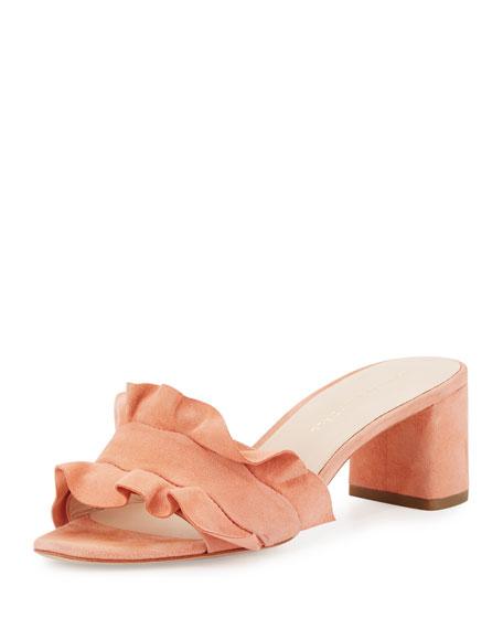Vera Ruffled Suede Mule Sandal