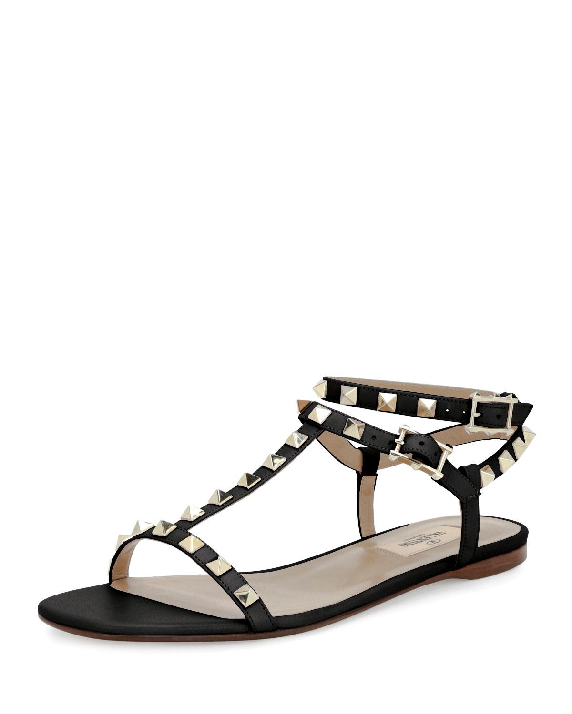 1a47d775e65fc Valentino Garavani Rockstud T-Strap Flat Sandal