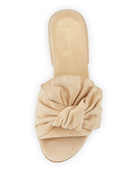 Giftwrap Suede Bow Slide Sandals