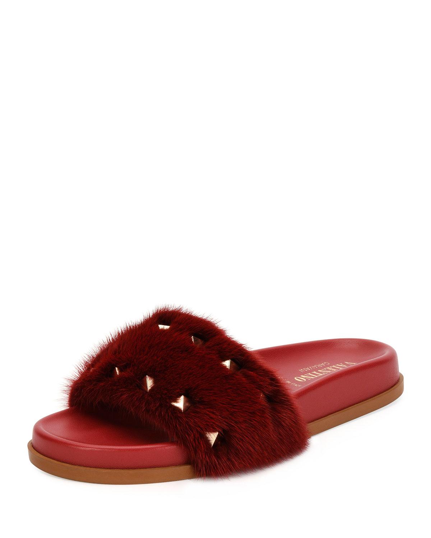 5a87a4626500 Valentino Garavani Rockstud Flat Fur Slide Sandals