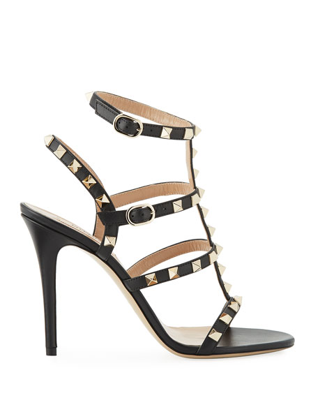Rockstud 105mm Caged Leather Sandals