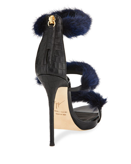 Strappy Mink Fur 110mm Sandal