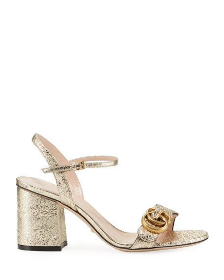 Marmont Logo-Embellished Metallic Cracked-Leather Sandals, Gold