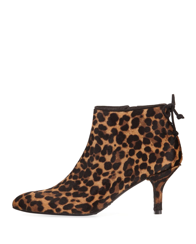Stuart Weitzman Pipelofty Leopard Calf-Hair Bootie, Chocolate