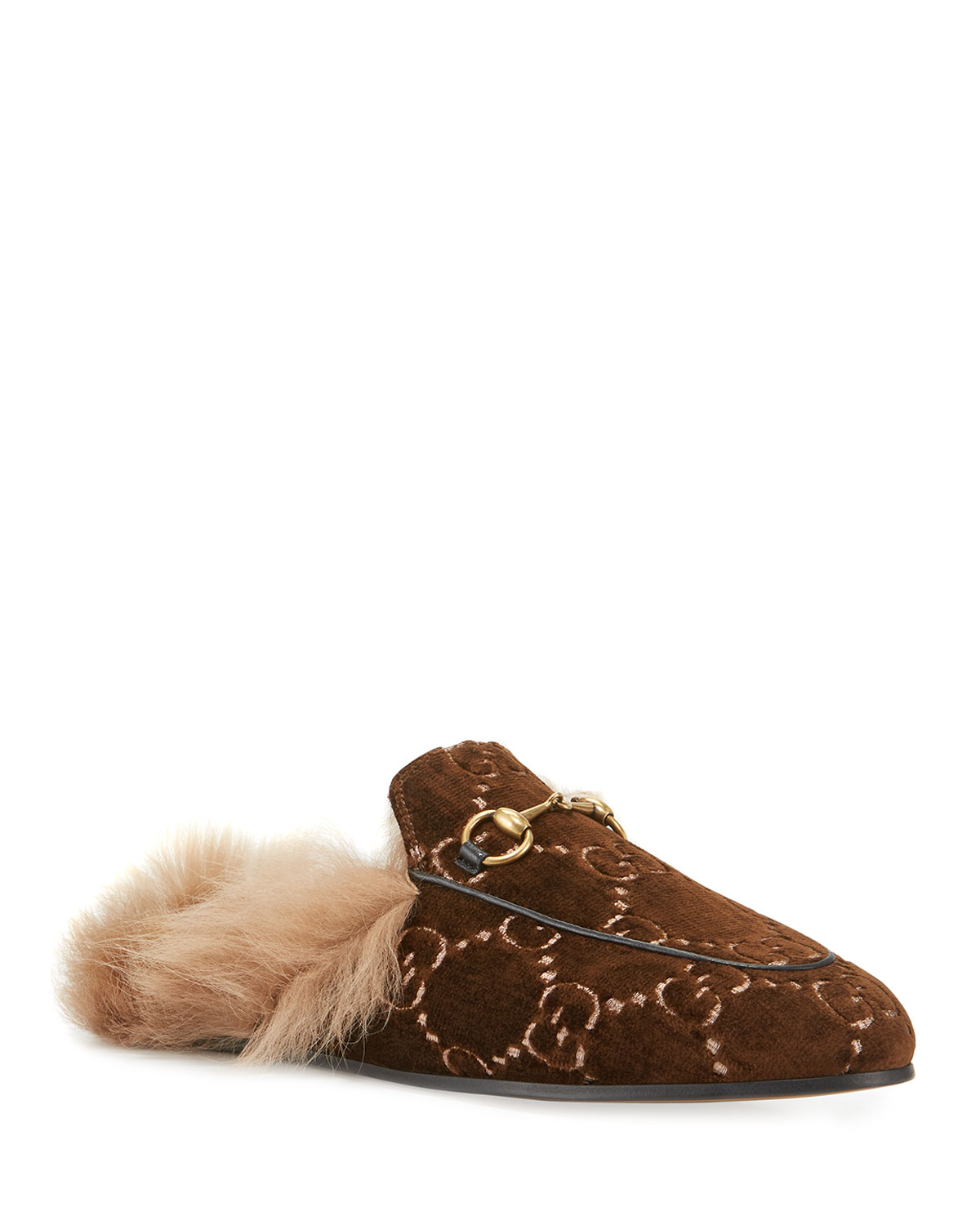 54334215722 Gucci Flat Princetown Velvet GG Mule With Fur