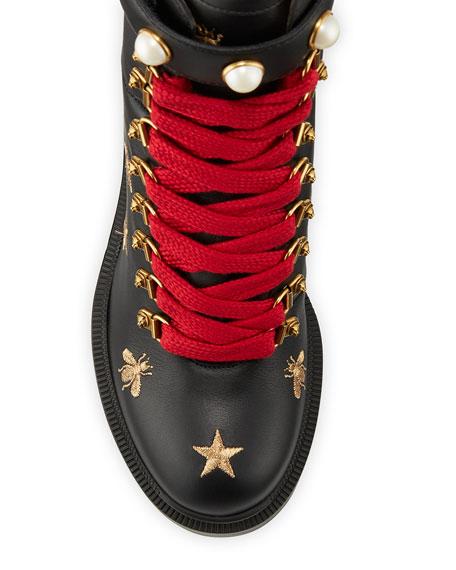 Gucci Flat Trip Leather Hiking Boot
