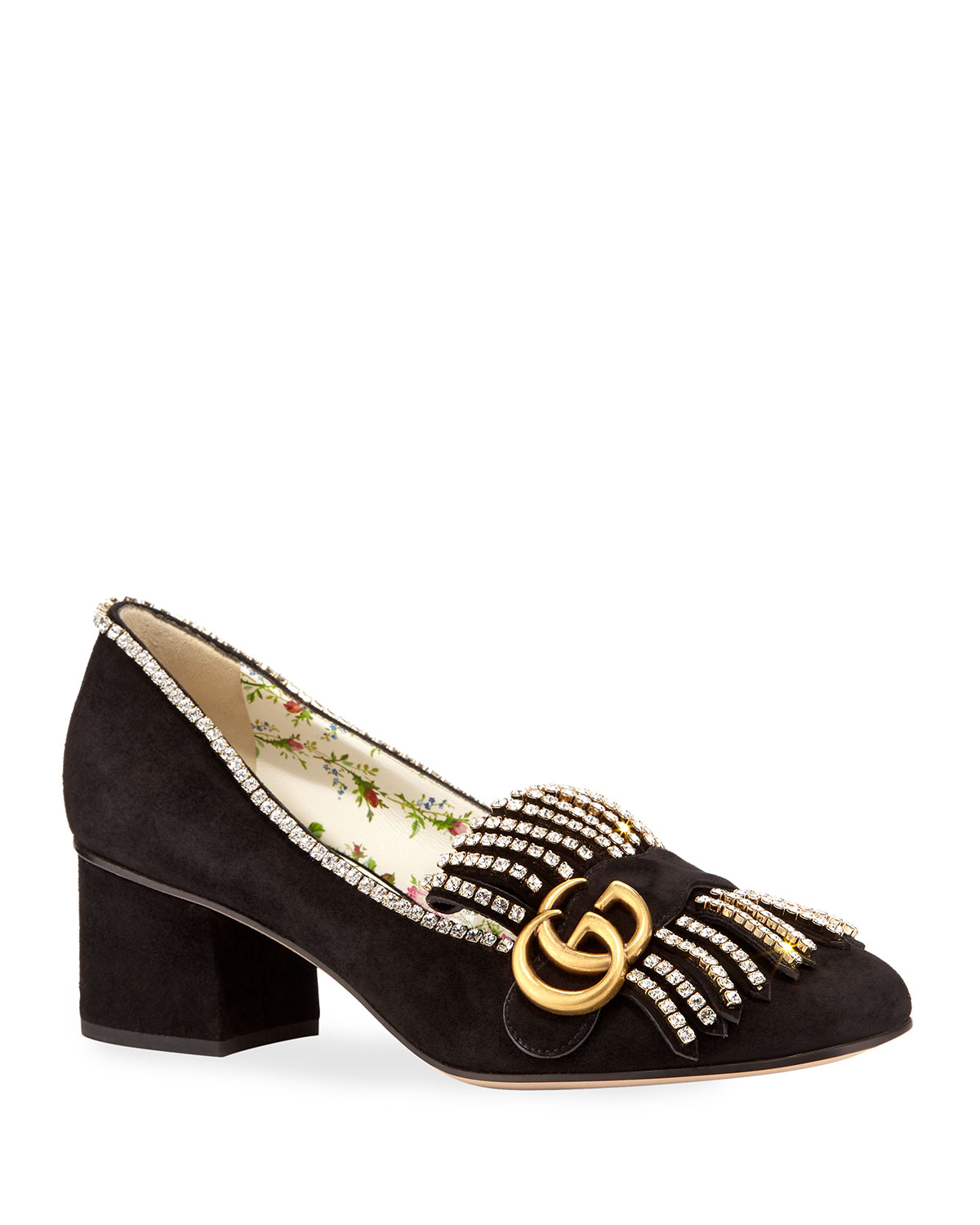 ba0a67a029f Gucci 5mm Marmont Suede Pump with Crystals