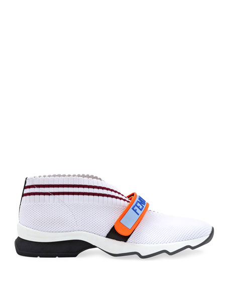 Knit Trainer with Rubber Strap, White