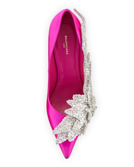 Balenciaga Crystal-Embellished Satin Pumps