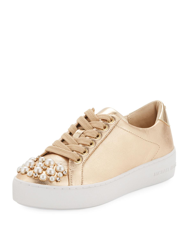 473aad5009b2 MICHAEL Michael Kors Poppy Embellished Metallic Sneakers